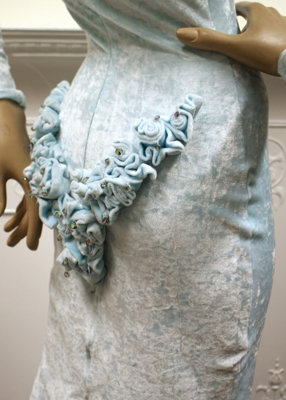 Ruffled Roxy girl glamour vintage 1980s baby blue