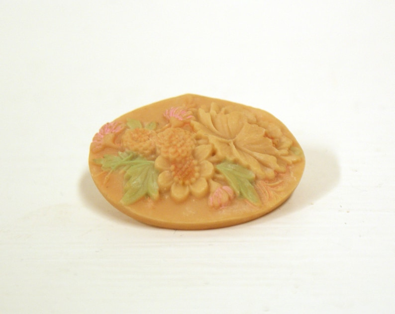 Art Deco style carved vintage small pastel floral flower image 0