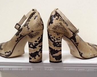 Glam rock 1970s revival Ravel vintage 1990s snakeskin heeled ankle strap platform shoes UK6