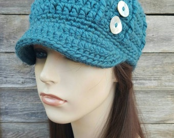 Women s Winter Hat with Brim and Buttons - Teal Wool MADE TO ORDER d522049b16d