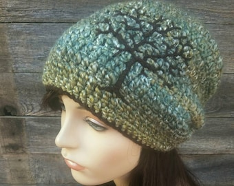 70ba563ba1c Slouchy Hat with Tree of Life Embroidery- Sage Green Chocolate Brown MADE  TO ORDER