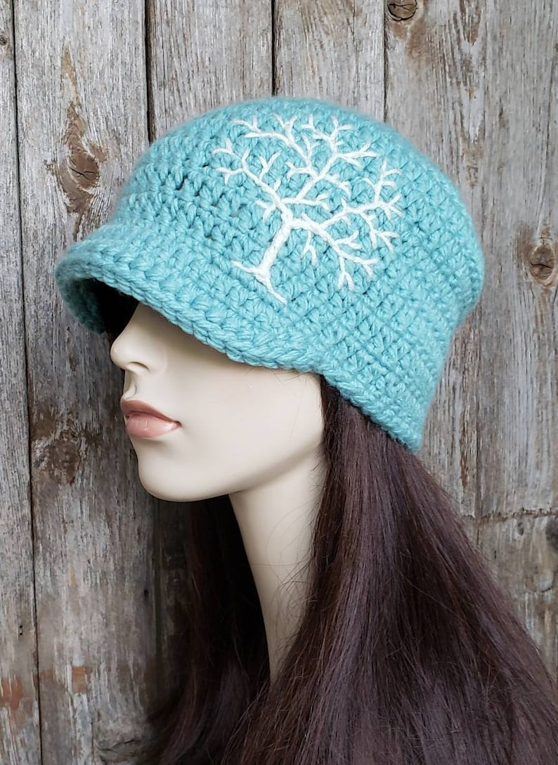 1ad1e18c30acc Womens Winter Hat with Tree of Life Design Aqua and Cream