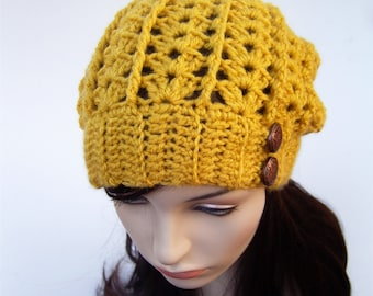 Womens Slouchy Hat, Lacy Hat, Mustard Yellow Hat, Slouchy Beanie with Buttons, Fall Hat, Autumn, Boho Hat, Bohemian Hat, MADE TO ORDER