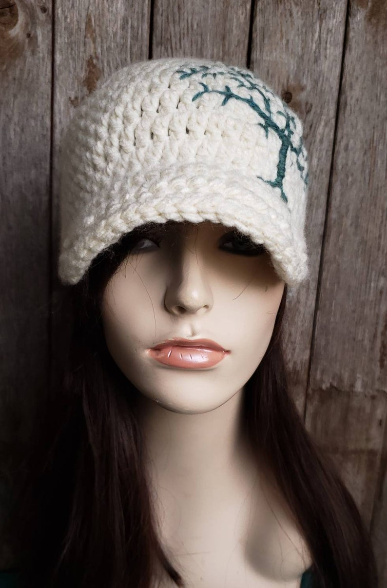 ff49209b31f1b Womens Winter Hat with Tree of Life Design Teal and Cream