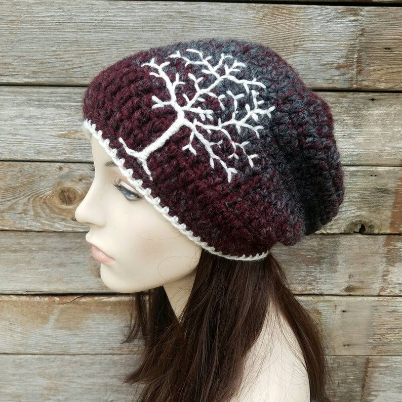 bad602b0c10 Slouchy winter hat with Embroidered Tree of Life Man Winter
