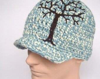 Mens Tree Hat Brimmed Hat Brimmed Beanie Guys Brimmed Hat Tree of Life Guys Brimmed Beanie  Baby Blue Cream Brown Vegan Hat - MADE TO ORDER