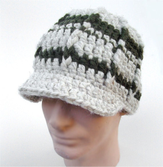 Mens Winter Hat Brim Beanie Olive Green Cream Hat Wool  2c16db8f25a