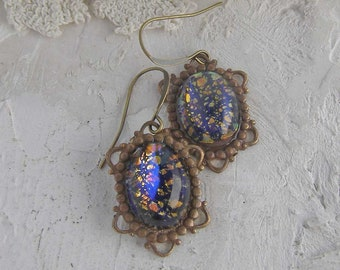 Fire Opal Earrings, Vintage Dangle Earrings, Art Glass Earrings, Navy Blue Jewelry, Heirloom Assemblage Jewelry
