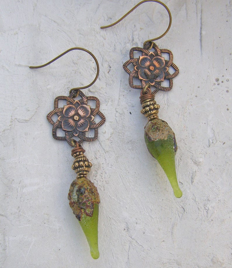 5664e3a28bfe32 Lampwork Glass Earrings Green Earrings Tribal Earrings | Etsy
