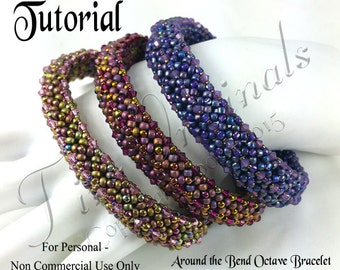 KR033 TUTORIAL -Around the Bend Octave Bangle - Instructions Tutorial -  Beadweaving Pattern