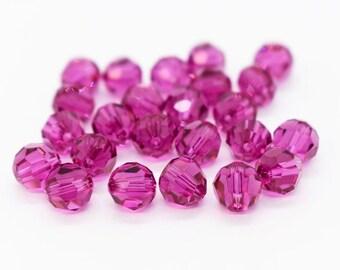 6mm Fuchsia 5000 Round Bead, Swarovski crystal, Crystal Passions®, 6mm Fuchsia 5000 - 6 piece pack