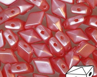 DiamonDuo 2-hole Bead, Pastel Light Coral (Pearl Coat), 50 count, 5 x 8 mm 2-Hole Czech Bead, (25007)-  Sold as 50 pieces