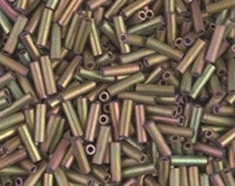 BGL2-2035: 6MM Miyuki Bugle Bead Matte Met Khaki Iris - Miyuki Glass Bead - 10 gram bag
