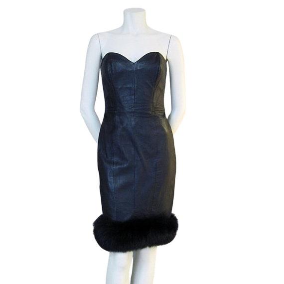 Vintage Dress 80s Strapless North Beach Black Leat