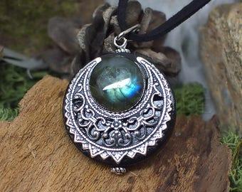 """Amulette """"Lleuad"""" Collier de Protection Lune Wicca Labradorite Talisman Triple Déesse - Silver-Filled Liton"""
