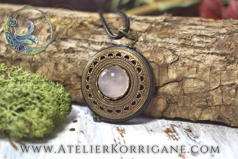 Brass Pagan Wood Pendant Wicca Talisman Gift Amulet Protection Necklace Pendant /'Amddiffyn/' Pink Quartz