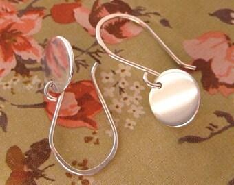 Simple Sterling Silver Circle Disc Earrings