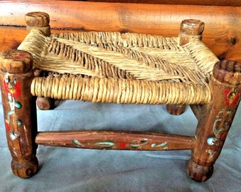 Dolls House Traditional Seat Rush Stool Footstool Miniature Hand Made Furniture