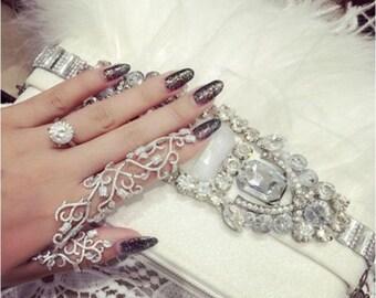 Full Finger Double Ring  Ring on Chain- wedding- Ornate