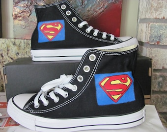 24d460763028 Adult Superman hand painted Converse hi top shoes