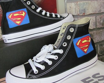 a8e7b3245fc3 Kids Superman hand painted Converse hi tops
