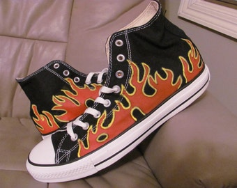 ADULT Converse Chuck Taylor All Star Canvas High Top hand painted Flame  shoes 0bd4249ef