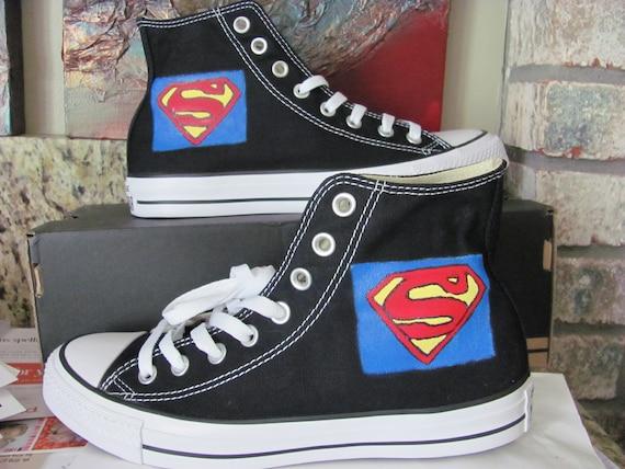 CONVERSE ALL STARS SUPERMAN Hi Top Sneakers Mens 5 Women 7