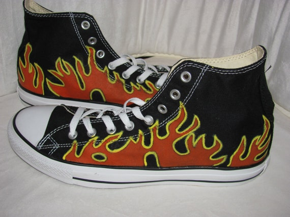 Converse Chuck Taylor All Star Canvas High Top CHILD YOUTH hand painted Flame shoes