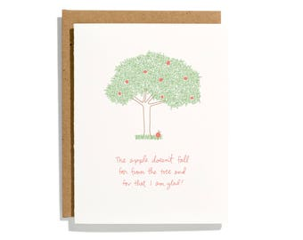 Apple Doesn't Fall Far - Letterpress Holiday Card - CH276