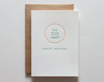 Birthday Cake Badge - Letterpress Birthday Card - CB152