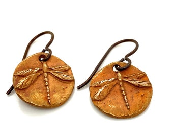 Bronze Raku Dragonfly Earrings