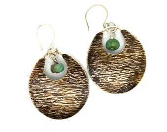 Boho-Style Bronze and Silver Earrings