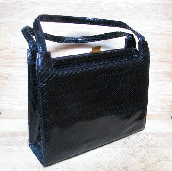 Snakeskin Handbag, Black Purse, Vintage Pocketbook