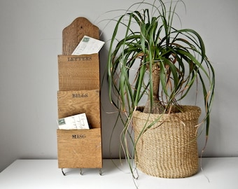 Vintage Mail Sorter, Wood Mail Organizer, Wall Hung Mail Holder, Key Holder