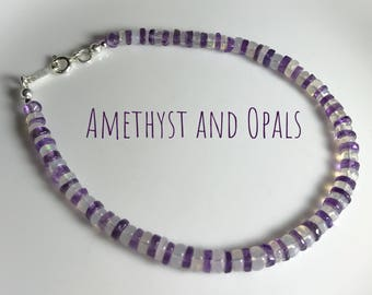 Amethyst and Opal Bracelet, Ethiopian Welo Opals and Beautiful Amethyst Gemstones