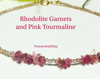 Garnet and Tourmaline -Gemstone Bracelet, Rhodolite Garnets and Pink Tourmaline Bracelet