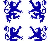 Scottish heraldic lion SET of 4 blue vinyl decals