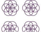 Seed of life SET of 4 sacred geometry violet vinyl decals