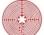 Chartres Cathedral labyrinth red vinyl decal