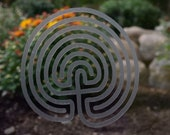 Classic 7 circuit labyrinth etched glass vinyl decal