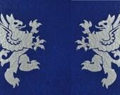 Rampant griffin silver heraldic vinyl decals