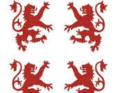 Scottish heraldic lion SET of 4 red vinyl decals