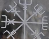 Vegvisir Viking compass rune etched glass vinyl decal