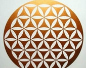 Flower of life sacred geometry copper vinyl decal