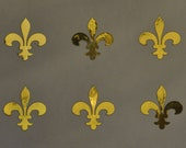 fleur de lys SET of 6 Medievel gold mirror vinyl decals
