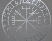 vegvisir Viking compass protection runes talisman silver vinyl decal