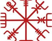 Icelandic Viking vegvisir rune red vinyl decal