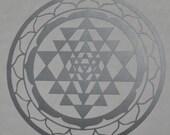 Sri Yantra sacred geometry silver vinyl decal