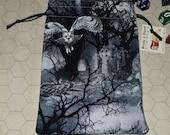 Owls in graveyard tarot rune dice bag