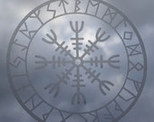 Viking helm of awe protection runes talisman etched glass vinyl decal